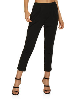Pull On Crepe Knit Pants - Black - Size S - 3407069397384