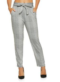 Plaid Tie Front Pants - 3407069399155