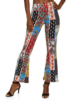 Patchwork Print Soft Knit Flared Pants - 3407072243898