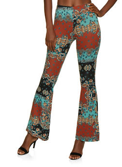 Flared Printed Soft Knit Pants - 3407072248839