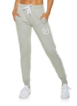 Love Graphic Varsity Stripe Sweatpants - 3407072290169