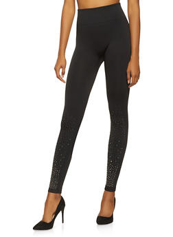 Fleece Lined Studded Leggings - 3407072290203