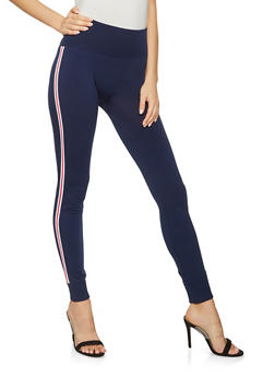 Striped Tape Trim Leggings - 3407072290205