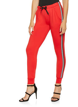 Side Striped Elastic Waistband Joggers - 3407072290276