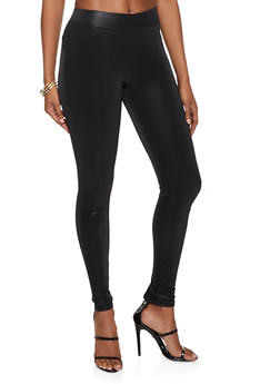 Faux Leather Fleece Lined Leggings - 3407072291676