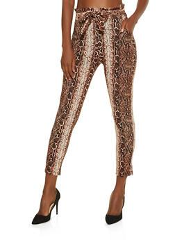 Snake Print Paper Bag Waist Pants - 3407072295001