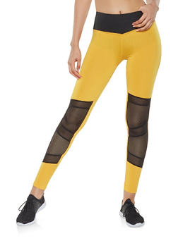 Mesh Insert Activewear Leggings - 3407074659299