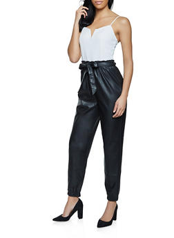Faux Leather Paper Bag Waist Jumpsuit - 3408015990356