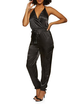 Satin Halter Neck Cargo Jumpsuit - 3408015990627