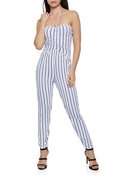 Striped Halter Jumpsuit - 3408015991020