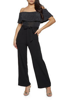 Glitter Ruffle Off the Shoulder Jumpsuit - 3408015991110