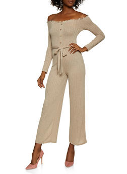 Off the Shoulder Rib Knit Jumpsuit - 3408015991632