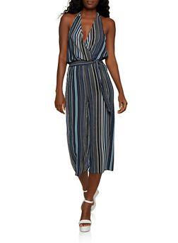 Striped Crepe Knit Halter Jumpsuit - 3408015992625