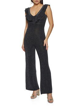 Ruffle Trim Lurex Jumpsuit - 3408015994463