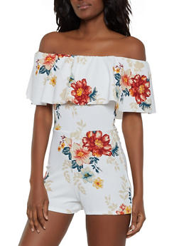 Printed Textured Knit Off the Shoulder Romper - 3408015995394
