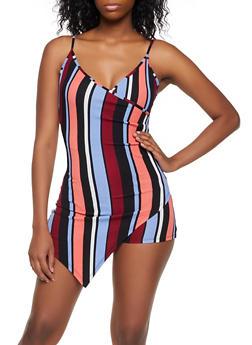 Striped Asymmetrical Faux Wrap Romper - 3408015997094