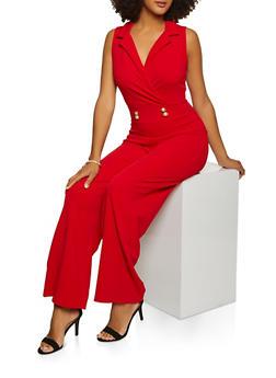 Wide Leg Crepe Knit Jumpsuit - 3408015997203