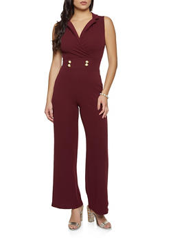 Wide Leg Crepe Knit Jumpsuit - 3408015997203