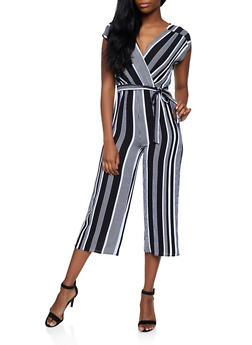 Striped Faux Wrap Gaucho Jumpsuit | 3408015999355 - 3408015999355
