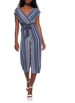 Striped Faux Wrap Gaucho Jumpsuit | 3408015999355 - 3408015999355