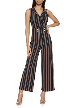 Collared Faux Wrap Striped Palazzo Jumpsuit - 3408015999722