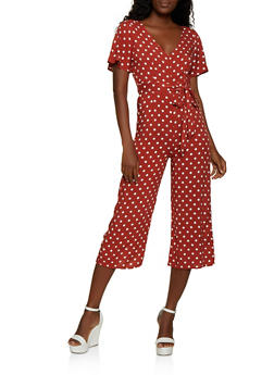 Belted Polka Dot Gaucho Jumpsuit - 3408015999760