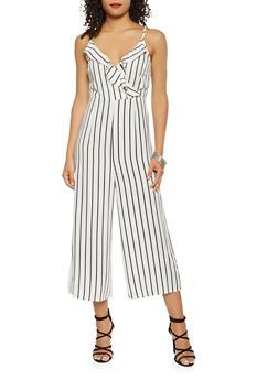 Striped Faux Wrap Gaucho Jumpsuit - WHITE - 3408054211404