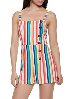 Striped Asymmetrical Button Linen Romper - 3408054211543