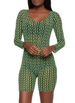 Geometric Print Mesh Romper - 3408054212064