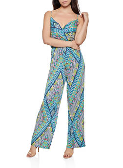Printed Faux Wrap Sleeveless Jumpsuit - 3408054213395