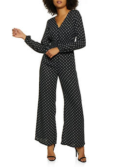 Half Button Printed Jumpsuit - 3408054215609