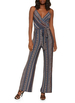 Printed Faux Wrap Palazzo Jumpsuit - 3408054216080
