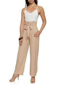 Two Tone Paper Bag Waist Jumpsuit - 3408062702175