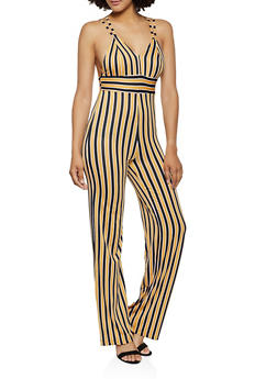 Striped Strappy Back Cami Jumpsuit - 3408062703144