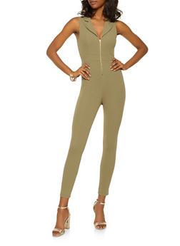 Collared Zip Up Jumpsuit - 3408062705694