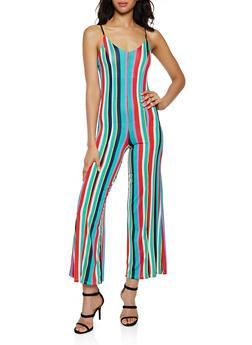 Vertical Stripe Flared Cami Jumpsuit - 3408062707119