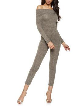 Fold Over Off the Shoulder Knit Jumpsuit - 3408062709923