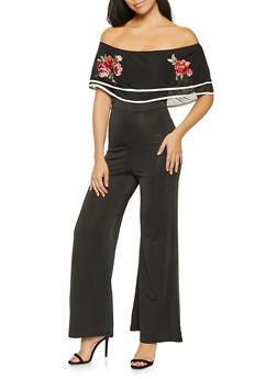 Embroidered Mesh Off the Shoulder Jumpsuit - 3408062709969