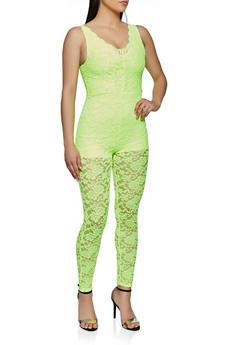 Scalloped V Neck Lace Jumpsuit - 3408066493547