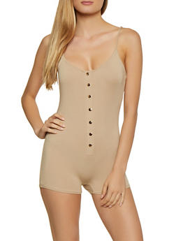 Button Front Cami Romper - 3408066496071
