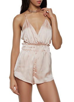 Open Back Satin Romper - 3408068196537