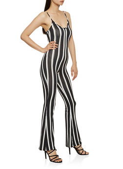 Striped Soft Knit Flared Jumpsuit - 3408068514364