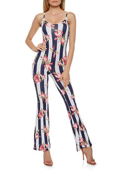 Printed Soft Knit Flared Jumpsuit - 3408068514365