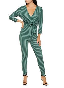 Striped Faux Wrap Jumpsuit - 3408069390522
