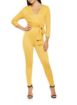 Striped Faux Wrap Jumpsuit - 3408069390522