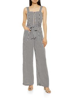Striped Sleeveless Wide Leg Jumpsuit - 3408069390571