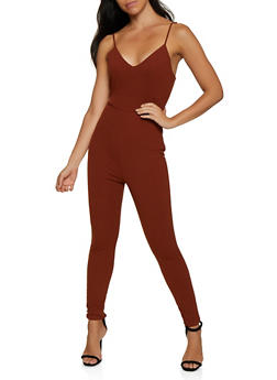 Sleeveless Crepe Knit Open Back Jumpsuit - 3408069390715