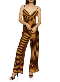 Striped Twist Front Palazzo Jumpsuit - 3408069390842
