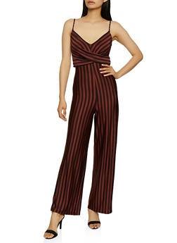 Striped Twist Front Palazzo Jumpsuit - 3408069390842