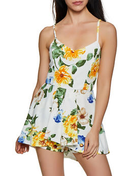 Floral Cami Overlay Romper - 3408069392972